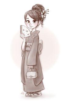 Kimono Girl by LuigiL.deviantart.com on @deviantART