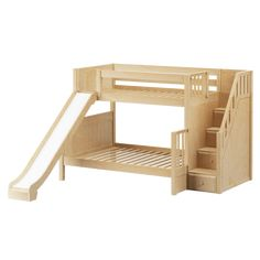 Full Loft Bett Trending stellar medium bunk bed with slide and staircase wdswqnl Bunk Bed With Slide, Full Bunk Beds, Kids Bunk Beds, Bed Slide, Kids Beds For Boys, Staircase Bunk Bed, Bunk Beds With Stairs, Slide Staircase, Stair Plan
