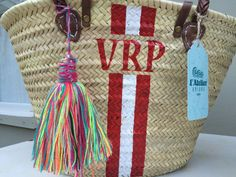 Monogrammed french market bag, custom made beach bag....  The bag is hand woven…