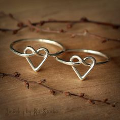 2 Infinity heart rings - cute gift for a best friend, maid of honor, daughter, etc