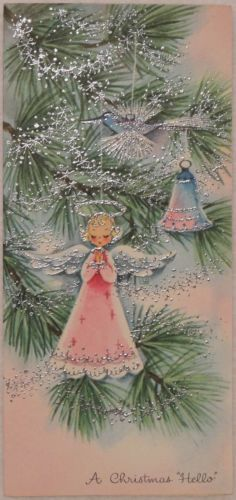 50's Silver Glittered Angel Ornaments on the Tree - Vintage Christmas Greeting Card