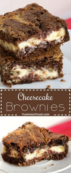 Perfect combination of cheese a… Cheesecake Brownies – amazing chocolate dessert. Perfect combination of cheese and chocolate. Brownie Desserts, Brownie Recipes, Cheesecake Recipes, Easy Desserts, Delicious Desserts, Yummy Food, Cooker Cheesecake, Brownie Cheesecake, Light Desserts