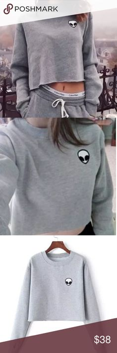 👽 VALLENIA Sweater 👽 Soft and crop cut style sweater . Crew neck with an alien face patch. Size small. Comfortable fit. Not by LF LF Sweaters Cowl & Turtlenecks
