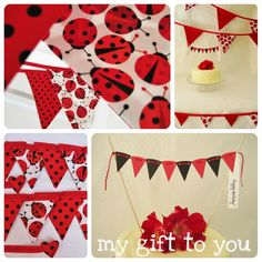 Ladybird ladybug bunting banner Party Pack 1 x Large 12 flag bunting 1 x fabric table decor bunting with 16 teeny  flags & FREE cake bunting