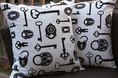 18x18 Lock and Key Pillow Cover Set. $40.00, via Etsy.