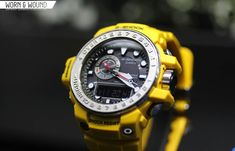 Really digging the overall look of the new Gulfman (Gulf Master), including the clean dial and metal bezel. Not sure if yellow is the color for me though. G Shock Watches Mens, Casio G Shock, Cool Watches, G Shock Gulfman, New G Shock, Mobile Computing, Radio Wave, Casio Watch, Digital Watch