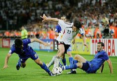 Germany 0 Italy 2 in 2006 in Dortmund. Michael Ballack takes on Gennaro Gattuso and Gianluca Zambrotta in the World Cup Semi Final. 2006 World Cup Final, Gennaro Gattuso, Michael Ballack, Semi Final, 2 In, Finals, Germany, Running, Sports