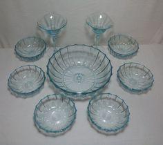 Aqua Blue Depression Glass Bowl Set