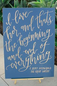 The Great Gatsby quote – literary wedding ideas #wedding #decorations