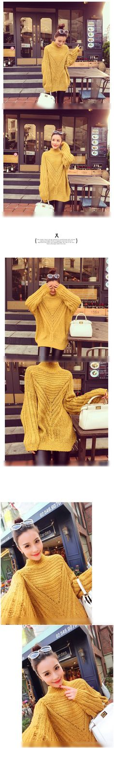 Buy Sienne Mock-Neck Chunky Knit Long Sweater at YesStyle.com! Quality products at remarkable prices. FREE Worldwide Shipping available!