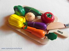 wooden vegetables to cut