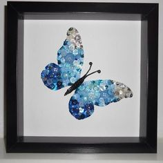 """Framed Butterfly Button Art * """"If it wasn't for change, there would be no butterfly"""". *K Butterfly Art, Butterfly Gifts, Butterfly Design, Butterflies, Button Crafts, Craft Frames, Button Button, Craft Day, Craft Gifts"""