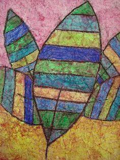 Wax Crayon Batik - mimic the look of batik fabric using crayons and watercolors.