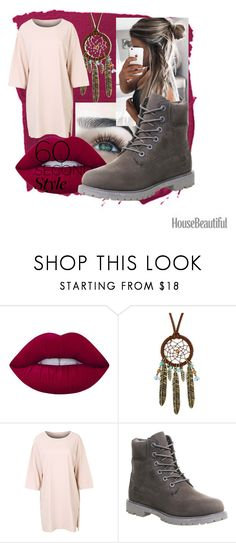 """""""tshirt dress"""" by epiphany4 ❤ liked on Polyvore featuring Lime Crime, Decree, Timberland, tshirtdresses and 60secondstyle"""