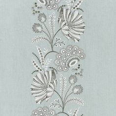 The House of Scalamandre Annelise Annelise Embroidery Fabric (Set of Color: Skylight Drapery Fabric, Fabric Decor, Linen Fabric, Fabric Design, Textile Design, Border Embroidery Designs, Embroidery Fabric, Embroidery Patterns, Chinoiserie Motifs