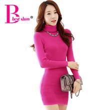 Women Winter Sweater Dresses 2015 New Arrival Korean Casual Turtleneck Women Knitted Dress Black White Long Sleeve Bodycon 3044(China (Mainland))