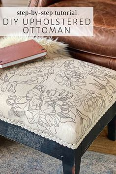 Whether you're doing a furniture flip or just want to makeover an old ottoman, it's cheap and easy to do when you DIY upholstery fabric with IOD stamps. Check out this step-by-step tutorial for your own DIY upholstered ottoman. Diy Ottoman, Upholstered Ottoman, Diy Home Decor Bedroom, Diy Home Decor Projects, Room Decor, Chalk Paint Fabric, Chalk Painting, Vintage Headboards, Reupholster Furniture