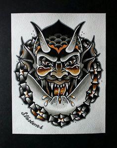 Most popular neo traditional tattoo design faces ideas Neotraditionelles Tattoo, Devil Tattoo, Tattoo Blog, Traditional Tattoo Old School, Traditional Tattoo Design, Traditional Ink, American Traditional, Light Tattoo, Dark Tattoo