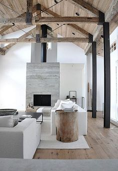 White loft style living room with wood accents and exposed beams.: Side Tables, Living Rooms, Expo Beams, Colors Schemes, High Ceilings, Wood Ceilings, Style File, Wood Beams, Briggs Edward Solomon