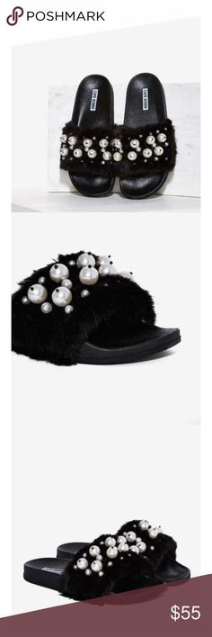 Faux Fur Slide Sandal Sold out everywhere. Adorable fur sandals you can wear with anything. Love. Nasty Gal Shoes Sandals