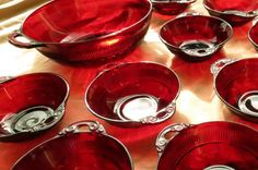 1930's Ruby Red Depression Glass 1 Serving 10 Berry by JewelActs, $98.00