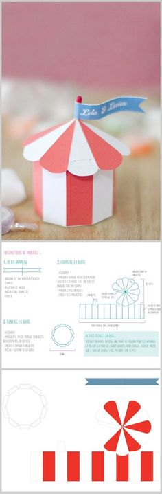 DIY chapiteau - CircusTent favor box {with free printable template from Un Beau Jour} ... Tutorial in English: http://translate.google.ca/translate?sl=fr=en=n=_t=en=UTF-8=2=1=http%3A%2F%2Fwww.unbeaujour.fr%2Fblog-mariage%2Fdoityourself%2Fdiy-do-it-yourself-le-chapiteau-de-poche%2F et en français http://www.unbeaujour.fr/blog-mariage/doityourself/diy-do-it-yourself-le-chapiteau-de-poche/