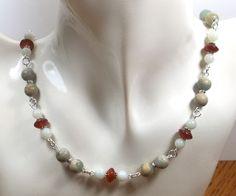 Aqua Terra Jasper, Carnelian, and Amazonite Beaded Multi Gemstone Necklace by…