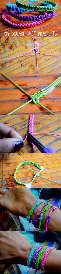 "These lovely bracelets would be the perfect gift to your BFF. Watch the video, and learn how to craft stackable bracelets using the ""square knots"" technique. See video and written instructions here: gwyl.io/..."