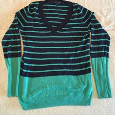 Long sleeve sweater Striped blue and green long sleeve sweater. 53% cotton 40% rayon 7% nylon GAP Sweaters V-Necks