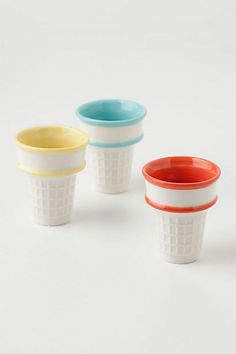 Ceramic ice cream cones, very neat but the best part of an ice cream cone is eating it....