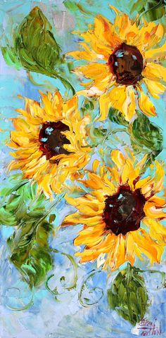 Original painting SUNFLOWER abstract MODERN impressionism oil palette knife fine art canvas by Karen Tarlton