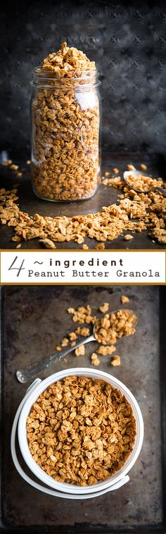 Peanut Butter Granola - delish and only 4 basic ingredients! Yummy, want to compare Mel's PB granola she just posted melskitchencafe Yummy Snacks, Yummy Treats, Snack Recipes, Cooking Recipes, Yummy Food, Tasty, Freezer Recipes, Freezer Cooking, Drink Recipes