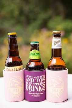 """""""To have and to hold and to keep your drink cold!"""" Wedding Koozies! Pic: J&D Photography"""