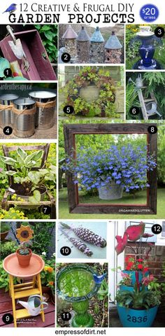 12 Creative and Frugal DIY Garden Projects Garden Yard Ideas, Diy Garden Projects, Garden Crafts, Outdoor Projects, Art Projects, Diy Crafts, Fence Ideas, Easy Garden, Outdoor Ideas