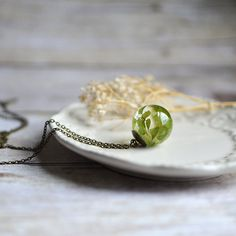 Fern necklace sphere necklace maidenhair fern resin jewelry pressed leaf nature necklace statement necklace nature inspired on Etsy, $40.00