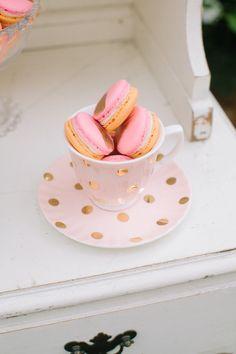 Pink macarons & pink tea cup!
