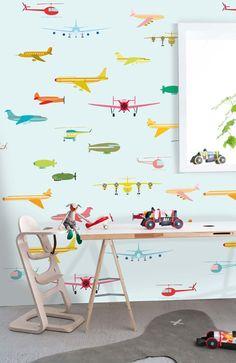 Behangposter gekleurde vliegtuigen OZ 3160? De leukste Behang voor de kinderkamer bij Saartje Prum.