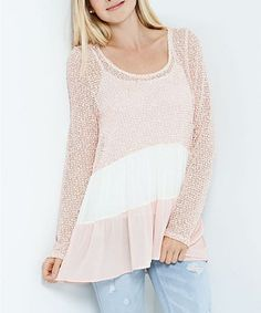 Look what I found on #zulily! Pink & White Color Block Tunic #zulilyfinds