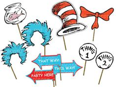 INSTANT DL Dr seuss Photo Booth Props Set Printable por RavenJony