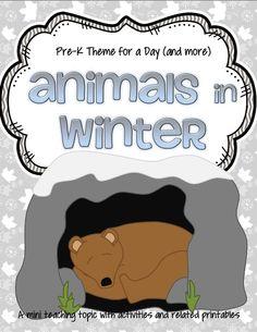 ANIMALS in WINTER preschool activities