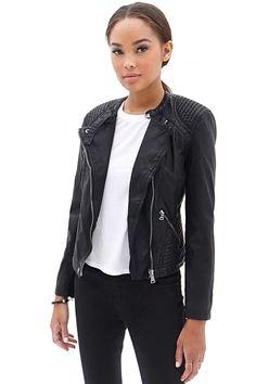 black leather moto jacket with stitching details