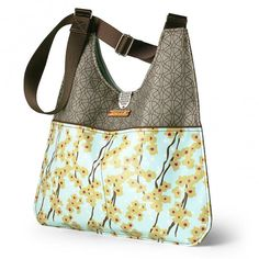 Nixon Flowering Pyrus in Cornflower Handbag - handmade in the US of 90% recycled materials