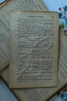 "Paper Embroidery Patterns A new ""to do"" - embroidering on paper. Floral stitching on old book pages. Old Book Pages, Old Books, Old Book Art, Altered Books Pages, Book Page Art, Children's Books, Old Book Crafts, Book Page Crafts, Paper Embroidery"