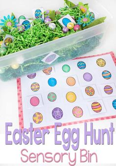 This Easter Egg Hunt Sensory bin is perfect for preschoolers who are learning to match. Work on fine motor skills while using this Easter Egg Matching Free Printable. I love the bright colors! Easter Activities For Kids, Spring Activities, Holiday Activities, Toddler Activities, Kids Fun, Sensory Bins, Sensory Activities, Learning Activities, Sensory Table
