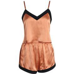 Boohoo Jenny Satin Contrast Trim Crop Vest & Shorts Set ($14) ❤ liked on Polyvore featuring intimates, sleepwear and pajamas