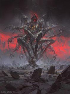 The Tyranny of Heaven, Noah Bradley - Anime Monster Concept Art, Fantasy Monster, Monster Art, Dark Fantasy Art, Fantasy Artwork, Dark Art, Fantasy Demon, Arte Horror, Horror Art