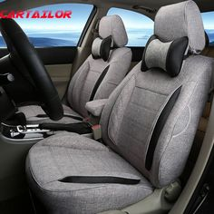 CARTAILOR Flax Seat Covers Fit For Volkswagen VW Caddy Linen Cloth Cover Seats Protector Interior Accessories