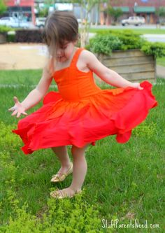 This dress from FabKids is a HUGE hit with my daughter because of the twirl factor. It would also make a great base for a fire costume or a Phoenix costume!