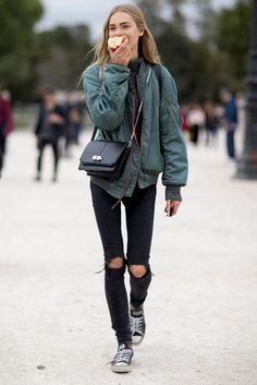 Teal bomber jacket, grey sweater, black torn jeans, black Converse & shoulder bag | @styleminimalism