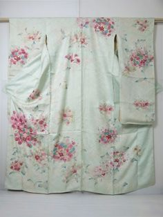 1617A03z810 Japanese Kimono Silk FURISODE Light blue Flowers